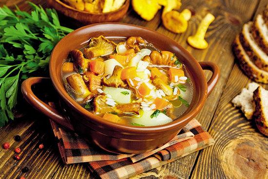 как варится суп с лисичками замороженными