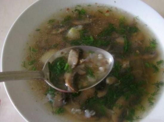 Суп грибной с гречкой: рецепт