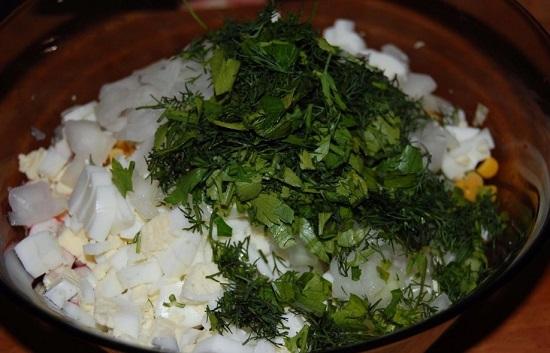 зелень в салат