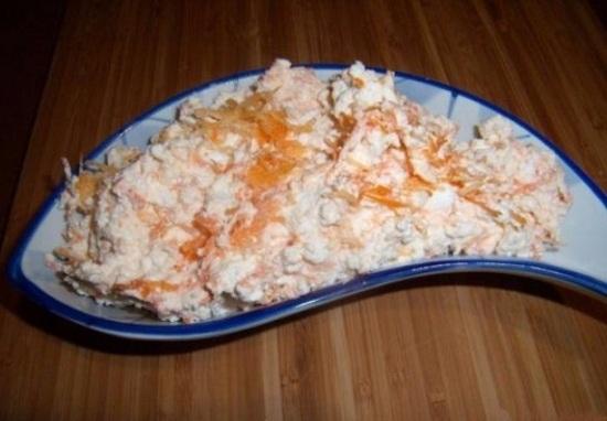 Соединим творог с морковью